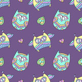 Ornamental owls seamless Royalty Free Stock Photography