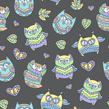 Ornamental owls seamless Stock Image