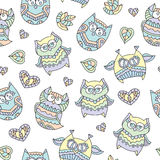 Ornamental owls seamless Stock Images