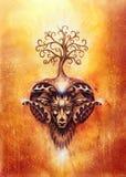 Ornamental painting of Aries, sacred animal symbol and tree of life. Ornamental painting of Aries, sacred animal symbol and tree of life stock images