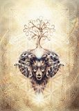 Ornamental painting of Aries, sacred animal symbol, tree of life, flower of life and merkaba. Ornamental painting of Aries, sacred animal symbol, tree of life royalty free stock image