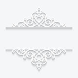 Ornamental paper frame. Cutout paper dividers on white, ornamental lace frame Stock Photo