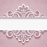 Ornamental paper frame with lace border. Elegant background with lace border ornament, decorative cutout paper frame, greeting card or wedding invitation vector illustration