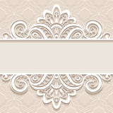 Ornamental paper frame with lace border Royalty Free Stock Image