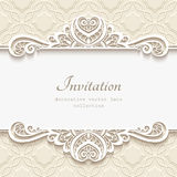Ornamental paper frame with lace border Stock Photo