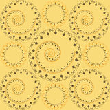 Ornamental pattern. Circle and swirl - brown and yellow royalty free illustration