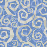 Ornamental pattern of abstract spirals. Polygonal abstract striped spirals in contrast colors Royalty Free Stock Image