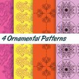 4 Ornamental Patterns Royalty Free Stock Photos
