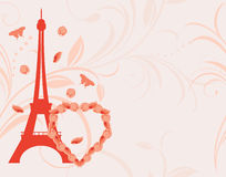 Ornamental pink background with floral heart and Eiffel tower Royalty Free Stock Images