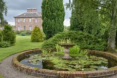 Ornamental pond in country estate stock photography
