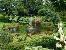 Ornamental pond and water fountain in a garden Stock Photography
