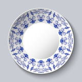 Ornamental porcellaneous plate with a blue pattern in ethnic style Chinese painting on porcelain or Russian style Gzhel. Vector illustration royalty free illustration