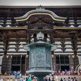 Ornamental post infront of Todai-ji Temple. An intricate ornamental post in front of the great Todai-ji Temple. Nara, Japan Royalty Free Stock Photos