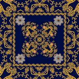 Ornamental print in ethnic style for square shawl. Carpet, pillowcase, tablecloth.  stock illustration