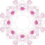 Ornamental purple circular element with roses Royalty Free Stock Photography