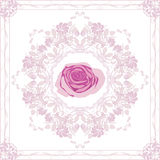 Ornamental purple element with rose Stock Photography