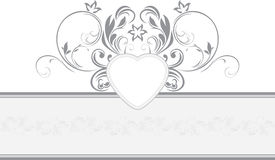 Ornamental retro border with heart Stock Photos