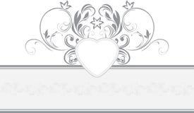 Ornamental retro border with heart Stock Photos