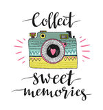 Ornamental Retro photo camera and stylish lettering - Collect sweet memories. Vector illustration. Royalty Free Stock Photography