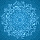 Ornamental round blue lace pattern_1. Lacy arabesque designs. Oriental ornament. You can use this pattern in the design of textile, carpet, shawl, cushion Royalty Free Stock Photo