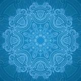 Ornamental round blue lace pattern_1 royalty free illustration