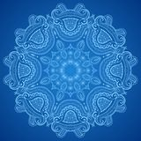 Ornamental round blue lace pattern. Lacy arabesque designs. You can use this pattern in the design of textile, carpet, shawl, cushion, greeting card Stock Photography