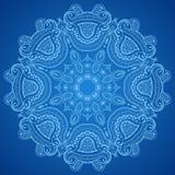 Ornamental round blue lace pattern stock illustration