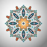 Ornamental round colorful geometric pattern in aztec style Royalty Free Stock Photography