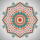 Ornamental round colorful geometric pattern in Royalty Free Stock Photos