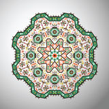 Ornamental round colorful geometric pattern in aztec style Stock Photos