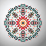 Ornamental round colorful geometric pattern in aztec style Royalty Free Stock Image