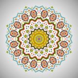 Ornamental round colorful pattern in aztec style. Ornamental bright round decorative ornament in navajo style Stock Photo