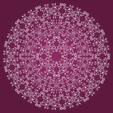 Ornamental round elegance floral pattern in white color isolated on purple plum background Stock Photo