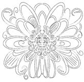 Ornamental round floral. flower element decor vector line Stock Photo