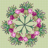Ornamental round floral pattern. Fabric texture pattern with seamless flowers Royalty Free Stock Photos