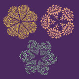 Ornamental round floral pattern with many details. Stock Image