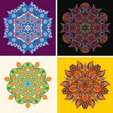 Ornamental round floral pattern. Set of four Royalty Free Stock Photography