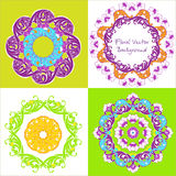 Ornamental round floral pattern. Set of four ornament. Vector il. Lustration Royalty Free Stock Photography