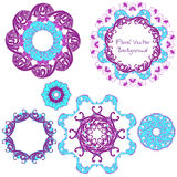 Ornamental round floral pattern. Set ornaments. Vector illustrat Royalty Free Stock Images
