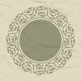 Ornamental round frame. On the old paper stock illustration