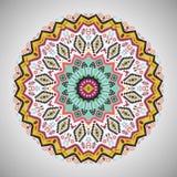 Ornamental round geometric pattern in aztec style. Ornamental round colorful geometric pattern in aztec style Royalty Free Stock Photo