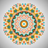 Ornamental round geometric pattern in aztec style Stock Image