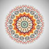 Ornamental round geometric pattern in aztec style. Ornamental round colorful geometric pattern in aztec style Royalty Free Stock Photos