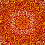 Ornamental Round Hearts Pattern In Indian Style Stock Photos