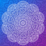 Ornamental round hearts pattern in Indian style Royalty Free Stock Images