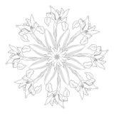 Ornamental round with irises Royalty Free Stock Photo