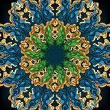 Ornamental round lace pattern, circle background with many details, ornate mandala style. Stock Image