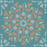 Ornamental round lace pattern, circle patern with many details, crocheting handmade lace, lacy arabesque designs. Orient. Traditional ornament. Oriental motif stock illustration