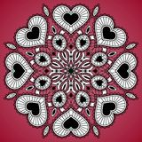 Ornamental round lace pattern from hearts. Circle background with many details. You can use this pattern in the design of textile, carpet, shawl, cushion Stock Image