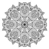 Ornamental round lace pattern is like mandala. Lacy arabesque designs. Oriental ornament. You can use this pattern in the design of textile, carpet, shawl Stock Photo